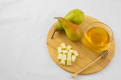 Груши, сыр и мед Стоковая Фотография