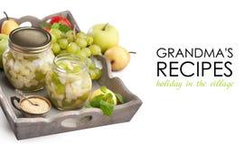 Груши яблок виноградин в сиропе Стоковое фото RF