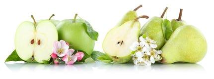 Груши яблок Яблока и груши зеленым цветом плодоовощей приносить изолированные на белизне Стоковые Изображения