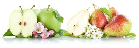Груши яблок Яблока и груши приносить плодоовощами изолированными на белизне Стоковые Фото