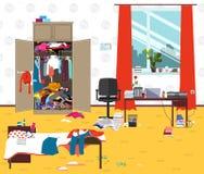 Грязная комната где молодая дама живет Комната девушки подростка или студента untidy Беспорядок шаржа в комнате Стоковое Изображение