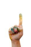 Грязная рука с цветом Стоковые Фотографии RF