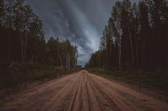 Грязная улица в древесинах стоковые фото