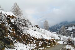 Грязная улица к традиционной деревне Тироля в швейцарских Альп стоковое фото rf