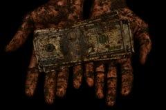 Грязные деньги нет чистых рук Стоковое Изображение RF