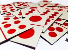 Грязный карточек домино с белой предпосылкой Стоковая Фотография