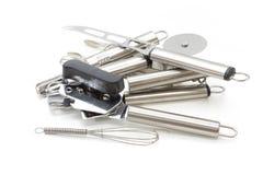 Грязный комплект silverware против белой предпосылки Стоковые Изображения RF