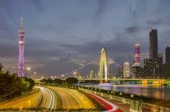 Гуанчжоу, ZhujiangNewTown, LiedeBridge Стоковая Фотография RF