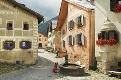 Гуарда, типичная деревня в Engadine Стоковое Фото