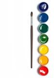 Гуашь радуги с paintbrush Стоковые Фото