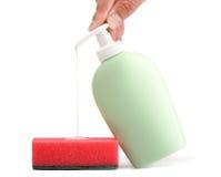 губка жидкостного мыла чистки бутылки Стоковое Изображение RF