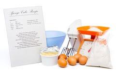 губка рецепта торта Стоковая Фотография