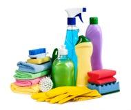 Губки, бутылки химии, перчатки для наведения очищенности Стоковое Изображение