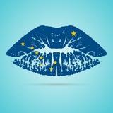 Губная помада флага Аляски на губах изолированных на белой предпосылке также вектор иллюстрации притяжки corel иллюстрация вектора