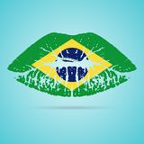 Губная помада флага Бразилии на губах изолированных на белой предпосылке также вектор иллюстрации притяжки corel бесплатная иллюстрация