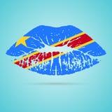 Губная помада флага Демократической Республики Конго на губах изолированных на белой предпосылке также вектор иллюстрации притяжк Стоковая Фотография