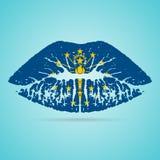 Губная помада флага Индианы на губах изолированных на белой предпосылке также вектор иллюстрации притяжки corel иллюстрация штока