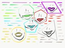 Губы внутри форм других цветов иллюстрация вектора