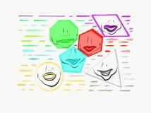 Губы внутри форм с затеняемыми цветами зеленой, голубого, и красного цвета иллюстрация вектора