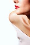 губы девушки красные Стоковое Изображение RF