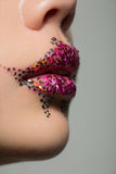 Губы женщины красоты с творческим составом Стоковое Фото