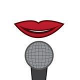 Губы изолированные микрофоном Стоковая Фотография RF