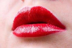 Губы лоска очарования красные Стоковые Фото