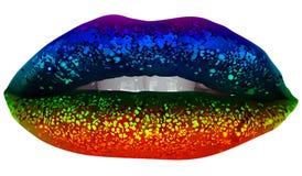 Губы партии радуги с ярким блеском Стоковое фото RF