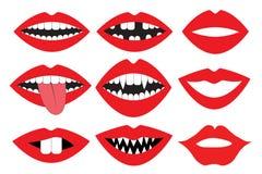 Губы, рот с зубами, комплект вектора Собрание аксессуара будочки фото Комплект партии упорок ретро Стоковая Фотография RF