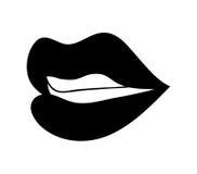 Губы с значком символа вектора шаржа зубов конструируют Красивая беда Стоковое Фото