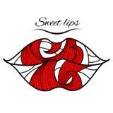 Губы с красным лепестком иллюстрация вектора