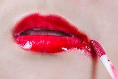 Губы с смазанными губными помадами Стоковое фото RF