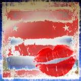 губы grunge патриотические Стоковая Фотография RF