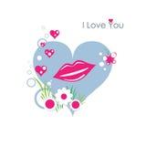 губы i любят вас Иллюстрация вектора