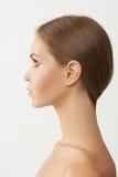 губ волос способа предпосылки детеныши белой женщины съемки белокурых красные чувственные Стоковое фото RF