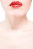 губ крупного плана предпосылки белизна красивейших красная Стоковое Фото