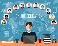 Гувернер и онлайн группа образования Белая предпосылка значков контура Стоковая Фотография RF