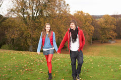 гулять пар осени романтичный подростковый Стоковое фото RF