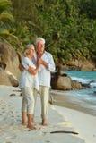гулять пар пляжа тропический Стоковые Фото