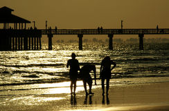 гулять семьи пляжа Стоковое Фото