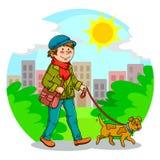 гулять собаки иллюстрация вектора