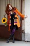 гулять солнцецвета девушки города милый Стоковое Изображение