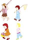 гулять 4 малышей Стоковая Фотография
