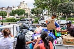 Гуманитарная помощь после извержения вулкана Fuego, Антигуа, Guatemal Стоковые Изображения