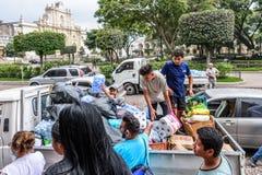 Гуманитарная помощь после извержения вулкана Fuego, Антигуа, Guatemal Стоковое Изображение