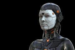 Гуманоид женщины киборга андроида робота - изолированный в черной предпосылке иллюстрация штока