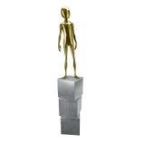 Гуманоид золота 3d стоя на кубиках Стоковая Фотография
