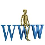 Гуманоид золота 3d с символом паутины Стоковые Фото