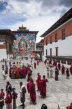 Гуру Rinpoche Thangka бутанского шоу огромный, Trashi Chhoe Dzong, Тхимпху, Бутан стоковые изображения rf