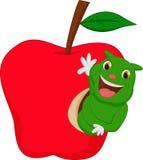 Гусеница ест яблоко Стоковые Изображения RF